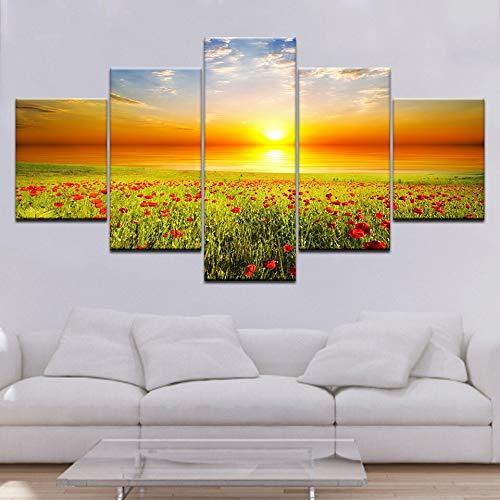 PEJHQY Leinwand Gedruckte Bilder Wohnzimmer Wandkunst Framework 5 Stück Romantische Mohnblumen Gemälde Rote Blumen Poster Modulare Wohnkultur,leinwanddruck düne