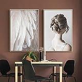 Pintura sin Marco Lienzo nórdico Moderno Retrato Cartel Pinta ala Pared Arte Mural Mural Sala de estarZGQ2057 60X80cmx2