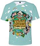Silver Basic Camiseta de Animal Crossing para Hombres y Niños Camiseta de Manga Corta de Verano Camiseta Casual de Moda para Cruzar Fans de Videojuegos de New Horizons M,5666Verde-1