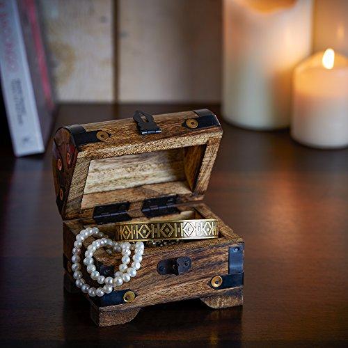 Casa Vivente Holztruhe – Bauernkasse – Schatztruhe – Schmuckkästchen – Spardose – Aufbewahrungsbox aus Holz – Klein – 10 cm x 7 cm x 8,5 cm (Dunkel – Klein) – Verpackung für Geldgeschenke - 6