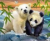 Pintar Por Numeros Oso Polar Panda Diy Pintura Por Números Con Pinceles Y Pinturas Diy Pintura Al Óleo Para Adultos Niños Cumpleaños Regalo 40X50Cm Sin Marco