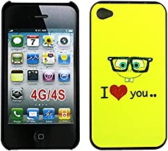 Apple iPhone 4/4S Case, Stylish Design Sponge Bob I Love You Pattern Print Hard Cover for iPhone 4, Shock-Absorption Protective Case Cover for Apple iPhone 4 4G 4S