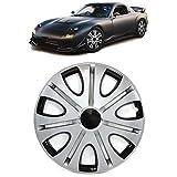 Carparts-Online 29875 Tenzo-R VII - Tapacubos para llantas de acero (15 pulgadas), color plateado y negro