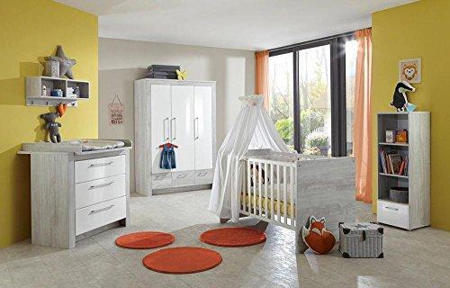 lifestyle4living 4-TLG. Babyzimmer, Kinderzimmer, Komplett-Set, Babymöbel, Einrichtung, Junge, Pinie Grau NB, Hochglanz weiß, Kleiderschrank, Wickelkommode, Kinderbett