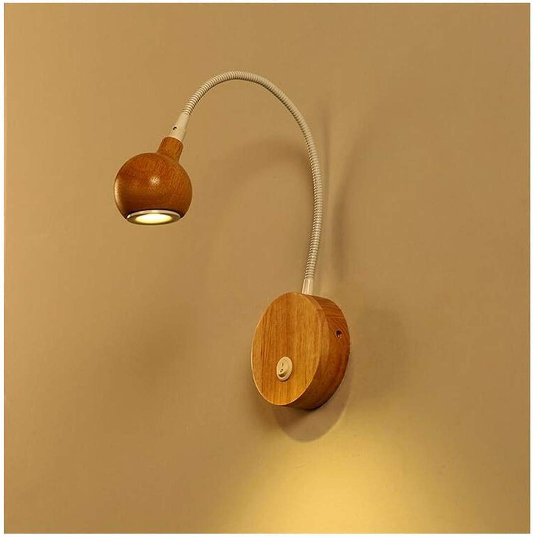 Wandleuchte Nordic Einfachheit Einstellbare Wandleuchte aus Holz Energiesparende LED Wandleuchten Leuchte zum Arbeiten Lesen Schlafzimmer Nacht (Farbe  Wei)
