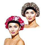 Yongbest Nacht Schlaf Mütze,2 Stück Satin Bonnet Elastisch Breit Band Hut Satin Cap für Frauen Mädchen schlafen Chemo Haarausfall