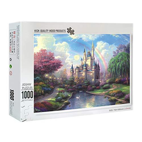 IGLZ Rompecabezas de Madera Exquisito Decoración para el hogar DIY Puzzle Toy 1000 Piezas Cartoon Jigsaw Puzzle Educación Juguetes de descompresión, Fantasy Castle Series