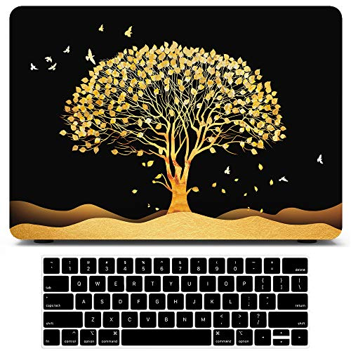 MacBook Pro 13 Inch Case 2020 2019 2018 2017 2016 Release A2251 A2289 A2159 A1989 A1708 A1706 A2338 M1 Embossed Tree Plastic Hard Shell Cases with Keyboard Cover Skin for Apple MacBook Pro 13.3 Inch
