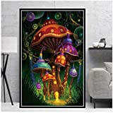 5STARS N&R Hot Psychedelic Trippy Mushroom Magic Blacklight Art Oil Canvas Painting Poster Prints Wall Pictures Living Room Home Decoration -50x70cm No Frame