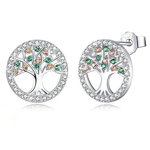 MEGA CREATIVE JEWELRY Pendientes para Mujer Árbol de la vida Plata 925 con Cristales Swarovski