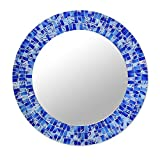 NOVICA Blue Glass Mosaic Wood Framed Round Decorative Wall Mounted Mirror, Tropical Fusion' (Large)