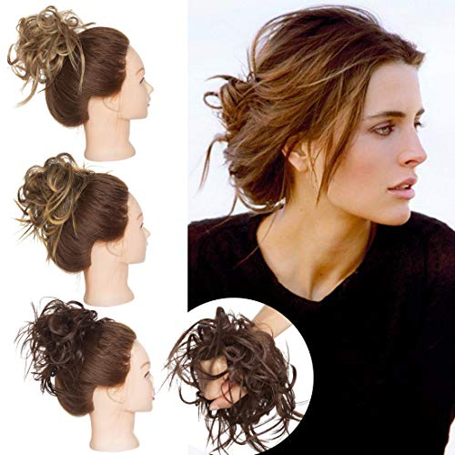 SEGO Tousled Updo Messy Bun Hair Piece Scrunchies Synthetic Wavy Bun Extensions Rubber Band Elastic Scrunchie Chignon Instant Ponytail Hairpiece for Women Medium Brown #M4