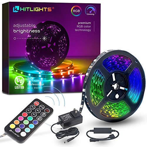 32.8ft LED Strip Lights, HitLights RGB Ultra Brighter Color Changing Led Tape Lights 5050 300 LEDs Flexible Light Strips with RF Remote, UL Power Supply for Home Room Party TV Bedroom