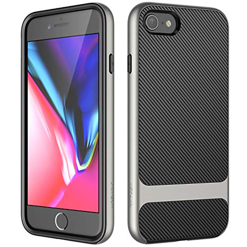 JETech Funda para iPhone 8 iPhone 7, Carcasa con Fibra de Carbono, Anti-Choques, Gris