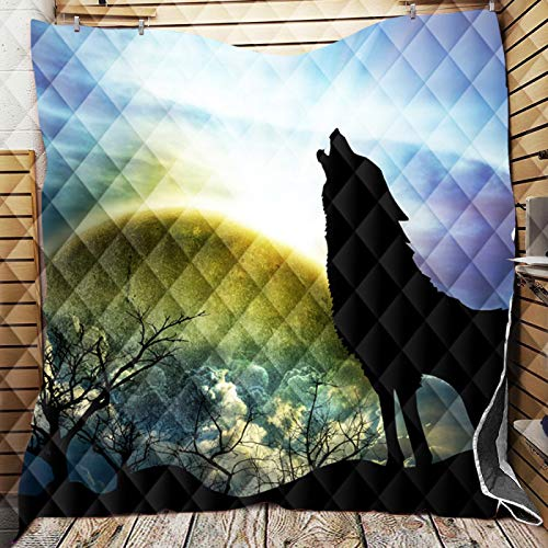 STJZXHN Quilted Blanket, Home Bed Quilt King Size Bedspread, Lightweight Thin Comforter For Winter, Wolf Under The Night Sky 3D Printing Soft Cozy Quilted Blanket Bedding