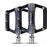 Pedales de Aleación para Bicicleta de Montaña Ultralivianos con Plataforma en 3 Colores Accesorios para MTB Bicicleta Plegable,Black