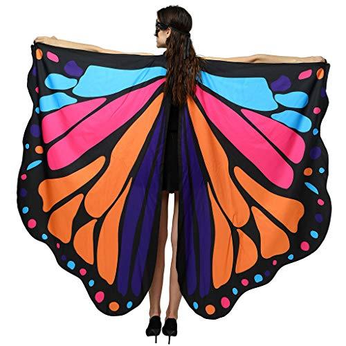INLLADDY Kostüm Damen Beidseitiger Druck Fasching Schmetterling Weicher Gewebe Flügel Schal Karneval Cosplay Kostüm Zusatz Umhang Mittelalter Kostüme Kleid Orange 168x135CM