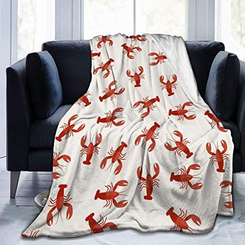 NOBRAND Manta De La Siesta Felpa Sofás Franela Langosta Roja Cangrejos Buen sueño L127cm x W102cm