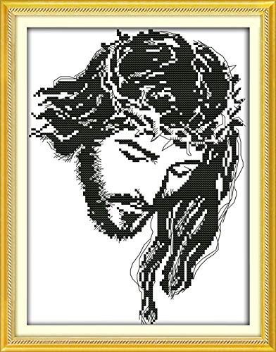 Cross Stitch Kits, Awesocrafts Meditation Jesus Easy Patterns Cross Stitching Embroidery Kit Supplies Christmas Gifts, Stamped or Counted (Jesus, Counted)