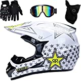 tairong Casco de Motocross, Casco de Motocicleta de Cara Completa Dirt Bike MX ATV Scooter Casco de Motocicleta Certificado ECE con Gafas, Guantes, máscara
