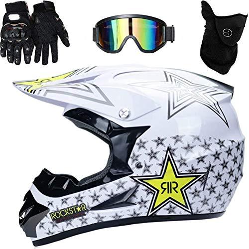 Motocrosshelm für Kinder, Motocross Helm mit Brille Handschuhe Gesichtsschutz Motorrad Crosshelm Kinder Off Road Helm Motorradhelm Schutzhelm Kit für MTB Sicherheit Schutz 51-59cm