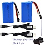 Blomiky 2 Pack H101 7.4V 1500mAh Battery and USB Charger Cable for T2 H105 H103 H101 Remote Control RC Boat H101 Battery and USB 2