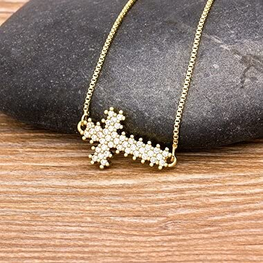 NVTHINH Female White Crystal Cross Pendant Necklace Charm Gold Color Chain Necklaces For Women Wedding Party Jewelry Gift (Metal Color: N214)