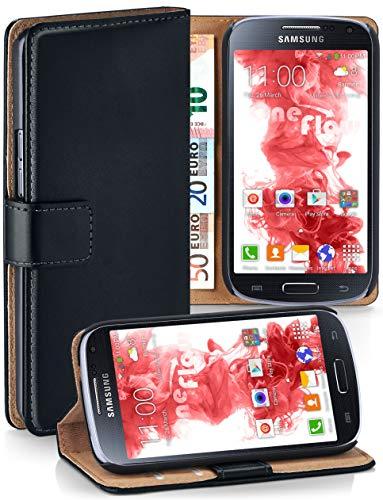 moex Klapphülle kompatibel mit Samsung Galaxy S4 Mini Hülle klappbar, Handyhülle mit Kartenfach, 360 Grad Flip Case, Vegan Leder Handytasche, Schwarz