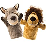 Animal Hand Puppets Set of 2 by BetterLine - Premium Quality, 9.5 Inches Soft Plush Hand Puppets for Kids- Perfect for Storytelling, Teaching, Preschool, Role-Play Toy Puppets (Lion and Wolf)