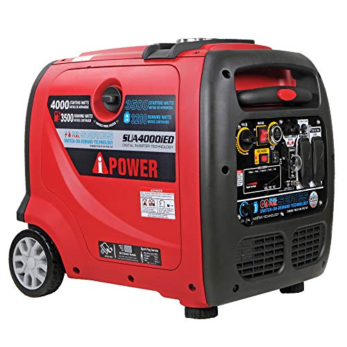 A-iPower SUA4000iED 4000 Watt Portable Inverter Generator Gas & Propane Powered, Small with Electric...