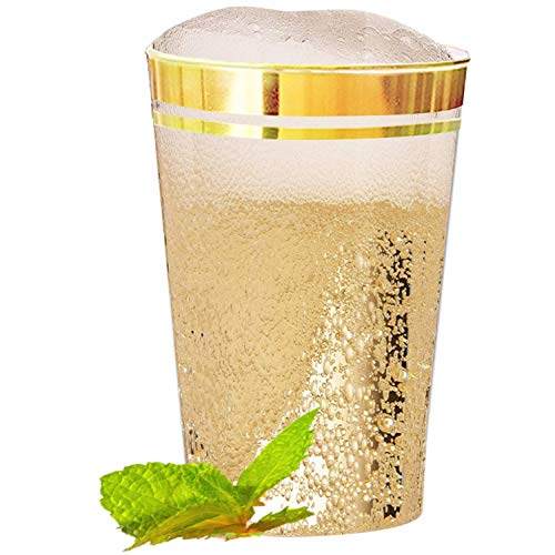 100 Premium Gold Plastic Cups – 12 oz Double Gold Rimmed Clear Plastic Cups, Disposable Cups with Gold Rim, Elegant Wedding Cups, Twin Gold Rimmed Hard Party Cups, Reusable Gold Trimmed Tumblers