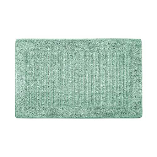 WohnDirect Alfombra de baño de rizo con rayas de espuma viscoelástica, antideslizante y lavable, con superficie de rizo suave, también ideal como alfombrilla de ducha, 50 x 80 cm, color verde
