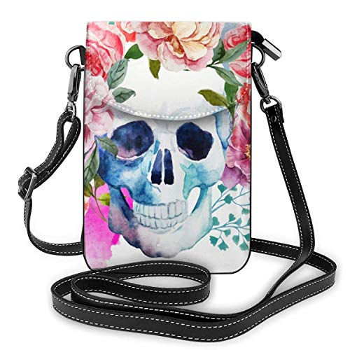 Lawenp Lightweight Leather Phone Purse, Small Crossbody Bag Mini Cell Phone Pouch Shoulder Bag with 2 Straps for Women Watercolor Skull Flowers Black