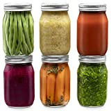 Glass Regular Mouth Mason Jars, 16 Ounce (6 Pack) Glass Jars with Silver Metal Airtight 1 Piece Lids for Meal Prep, Food Storage, Canning, Drinking, Overnight Oats, Jelly, Dry Food, Salads, Yogurt
