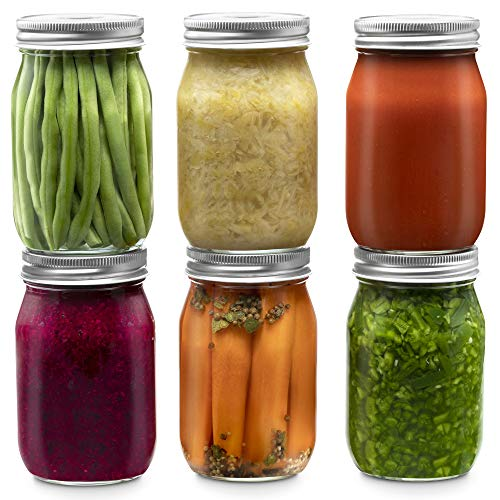 Glass Regular Mouth Mason Jars, 16 Ounce (4 Pack) Glass Jars with Silver Metal Airtight 1 Piece Lids for Meal Prep, Food Storage, Canning, Drinking, Overnight Oats, Jelly, Dry Food, Salads, Yogurt