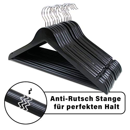 LANZZAS Kleiderbügel aus Ahornholz in Schwarz, 30 Stück, mit rutschfestem Hosensteg und Rockkerben, für Jacken, Blusen, Hosen, Röcke und Kleider