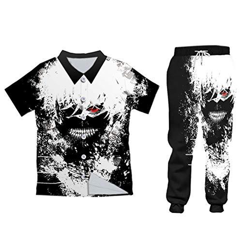 Negro Blanco 2 Piezas Conjunto Trajes Sudaderas Pantalones Traje Anime Chándal Hombres Logotipo Personalizado
