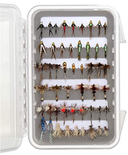 Outdoor Planet 50 Premium Fly Fishing Flies Assortment | Waterproof Fly Box | Dry Flies, Wet Flies, Nymphs Flies, Caddis | Trout Fishing Lure Set
