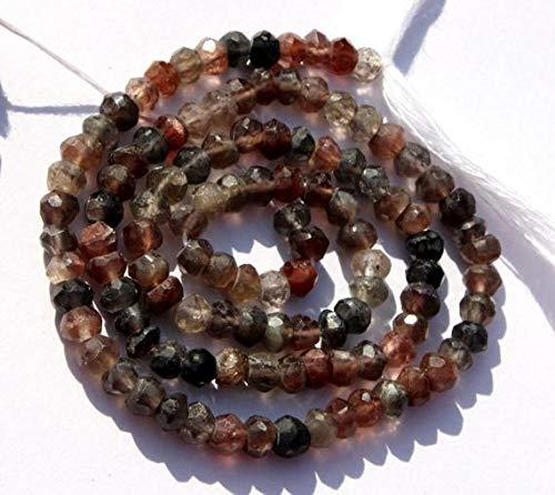 LKBEADS 42561 - Cuentas de rondelle facetadas naturales andaluzas de 3,5 mm de largo, cuentas de piedras preciosas andalusitas, código HIGH-42561