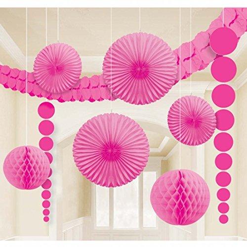Amakando Papier Wabenball Honeycomb Ball Girlanden Fächer Lampion Deko Set pink Pompoms Wabenbälle Fluffy Ball Deckendeko Papier Party Raum Dekoration Wabendeko Hängedeko