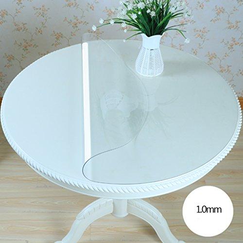 Nappe ronde en verre souple de PVC imperméable à l'eau et imperméable à l'eau Transparent transparent matelas nappe Table Nappe de table ronde (taille : 90 * 90cm)
