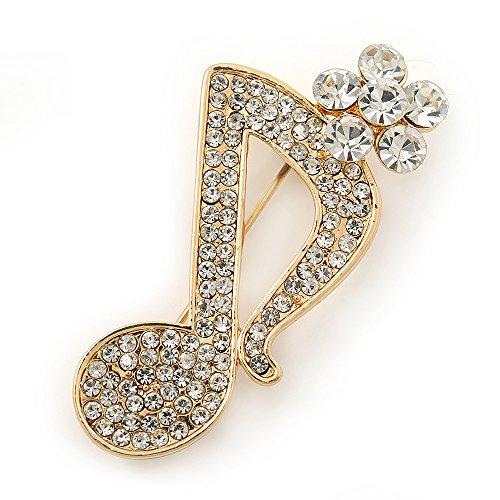 Tono de oro cristal claro de nota musical broche–40mm L