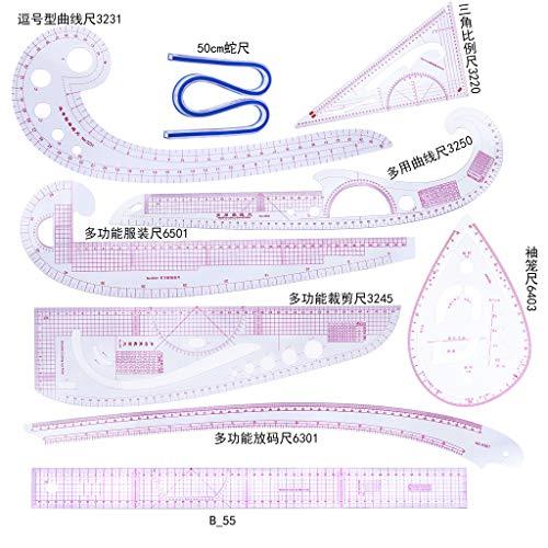 Juego de 9 piezas de costura de ropa, reglas de herramientas de corte para dibujar coma, corte recto, francés