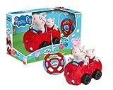Revellino 23203 Mein erstes RC Car mit Peppa Wutz und Pappa Pig, 40MHz Fernsteuerung, fr Kinder ab 2 Jahren PeppaPig ferngesteuertes Auto aus Plsch, zum Spielen und Kuscheln, rot