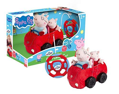 Revellino 23203 Mein erstes RC Car mit Peppa Wutz und Pappa Pig, 40MHz Fernsteuerung, für Kinder ab 2 Jahren PeppaPig ferngesteuertes Auto aus Plüsch, zum Spielen und Kuscheln, rot