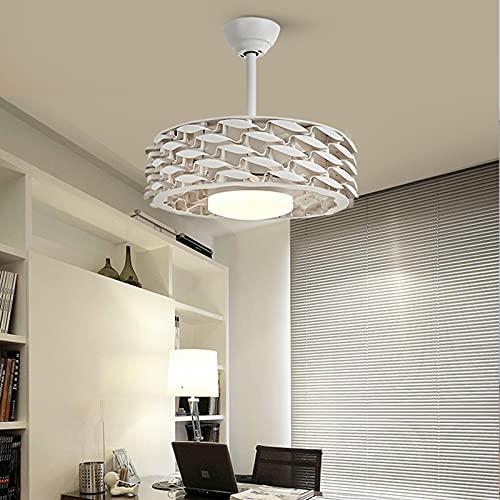VILN LED Ventilador de techo Lámpara con Temporizador Moderna Con Mando A Distancia Regulable ventilador Luz Creativo Sin aspas 6 Velocidades Reversible Ultra Silencioso Iluminación dormitorio,Blanco
