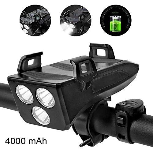 Famyfamy Lampe avant de vélo 4 en 1 multifonctions lumières LED Phare Phare Smart Phones Stand Konnes Banque de puissance 4000mAh Noir, 200605YY03-4#8043, Noir , 4000mAh
