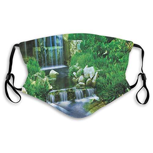 Cascada que fluye hacia abajo la cascada de follaje de rocas en el bosque Valle imagen Cara M-A-S-K Bandana lavable para adultos hombres mujeres