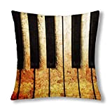 Funny Vintage Piano Keys Keyboard Musical Theme Cushion Case Pillow Cover with Zippered Throw Pillow...