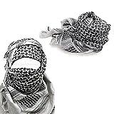 Militar-TLD Pañuelo Militar Ejercito (apto para usar en exteriores, para airsoft y paintball) diseño de palestina, color blanco y negro